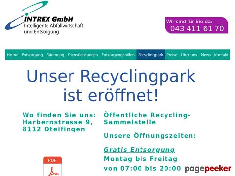 Recyclingpark in Otelfingen by INTREX GmbH