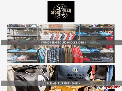 STORE74.CH GmbH Vintage Laden, Retro Shop, Grand Prix Mode, Kleider Damen Herren, Aargau Z�rich